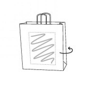 Papiertasche gedrehte Papierkordel, kraft weiss, 26 x 35 + 12 cm