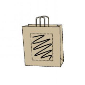 Papiertasche gedrehte Papierkordel, kraft braun, 22 x 31 + 10 cm
