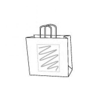 Draagtas gerolde handle, kraft wit, 14 x 21 + 8 cm