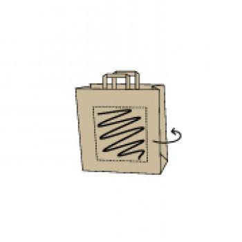 18 x 8 x 22 cm, Kraftpapier braun, 2-seitig bedruckt