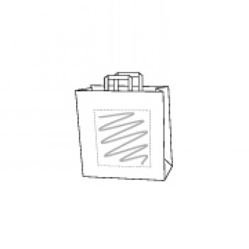 18 x 8 x 22 cm, kraft wit, 1 zijde bedrukt