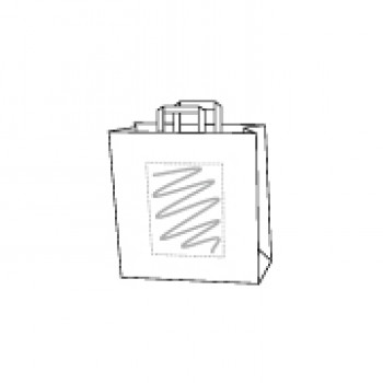22 x 10 x 36 cm, kraft wit, 1 zijde bedrukt