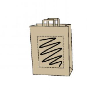 22 x 10 x 36 cm, Kraftpapier braun, 1-seitig bedruckt