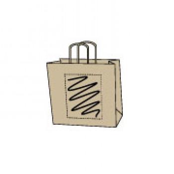 Papiertasche gedrehte Papierkordel, kraft braun, 18 x 22 + 8 cm