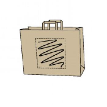 32 x 21 x 27 cm, kraft bruin, 1 zijde bedrukt