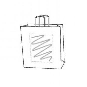 Papiertasche gedrehte Papierkordel, kraft weiss, 22 x 31 + 10 cm