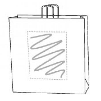 Draagtas gerolde handle, kraft wit, 45 x 48 + 17 cm