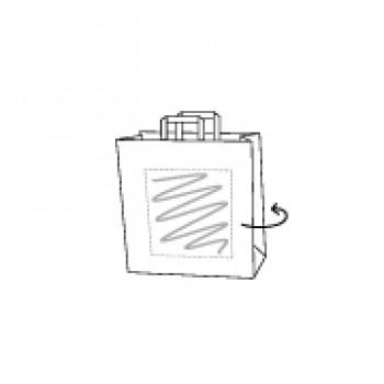 18 x 8 x 22 cm, Kraftpapier weiss, 2-seitig bedruckt