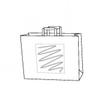 32 x 21 x 27 cm, Kraftpapier weiss, 1-seitig bedruckt