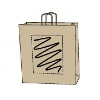 Papiertasche gedrehte Papierkordel, kraft braun, 32 x 41 + 12 cm