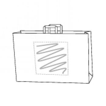 44 x 17 x 32 cm, kraft wit, 1 zijde bedrukt