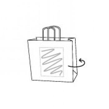 Draagtas gerolde handle, kraft wit, 18 x 22 + 8 cm