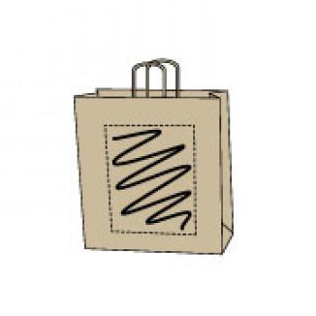 Papiertasche gedrehte Papierkordel, kraft braun, 26 x 35 + 12 cm